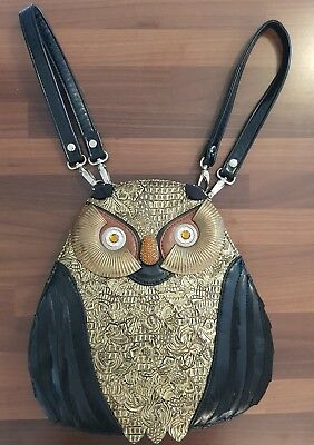 Lydc Collection Owl Shaped Handbag Or Shoulder Bag Black And Gold