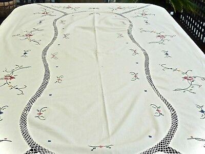 Gorgeous Vintage White Cotton Hand Embroidered & Crochet Tablecloth