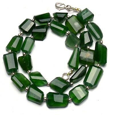 Natural Gem Serpentine Super Quality Faceted Nugget Beads Necklace 18""