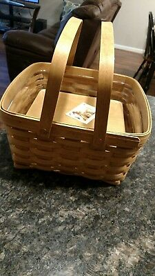Longaberger Large Square Basket with Protector and Wood Base ~ New