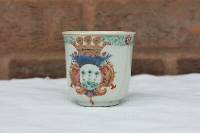 18th Century Chinese Famiile Rose Armorial Coffee Cup Qianlong Period