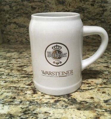 WARSTEINER German Beer STEIN MUG GLASS, White, Gold Logo & Trim, .5L