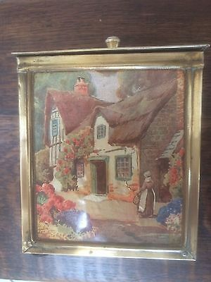 Antique Vintage English Brass Embossed Footed Tobacco Tea Caddy English Cottage