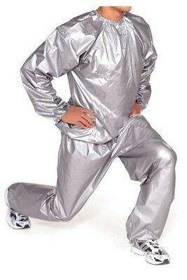 Heavy Duty Fitness Weight Loss Sweat Sauna Suit Exercise Gym Anti-Rip Silver JV