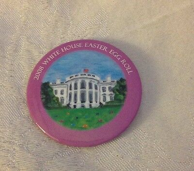 GW BUSH LAURA WHITE HOUSE EASTER EGG ROLL 2008 Rare METAL BADGE PIN