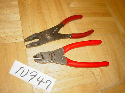 Snap-On Tools 2 Piece New Diagonal Vector Edge Cutters, Used Slip Joint Pliers