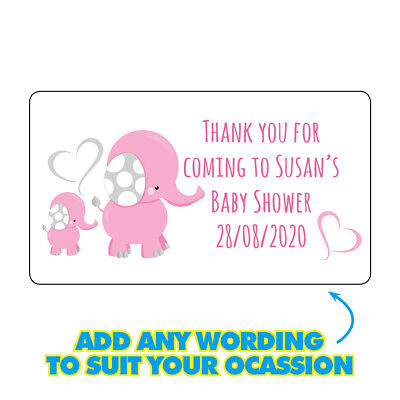 GLOSSY Personalised Elephant Baby Mummy Shower Stickers Party Bag Labels 356