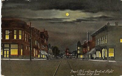 Antique Post Card Pearl Street Looking East at Night Union City Indiana IN 1914