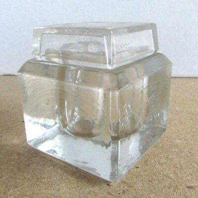Antique Clear Glass Inkwell - Heavy Cube Shape - Glass Lid