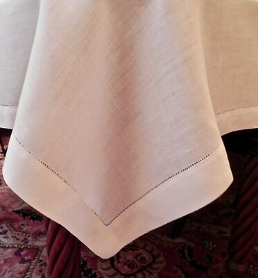 """Larger Classic White Midcentury Linen Tablecloth /Topper Hemstitched Edge 45x45"""""""