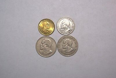 4 DIFFERENT 1 SHILLING COINS from KENYA - 1968, 1971, 1995 & 2005 (4 TYPES)