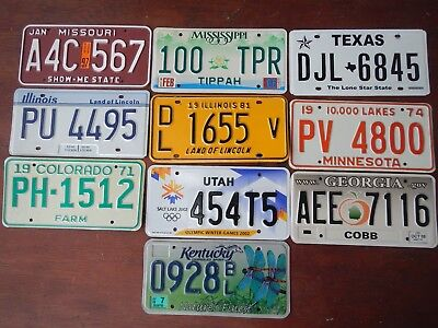 Lot of 10  US license plates, 9 Different States