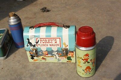 Vintage 1959 Porkys Lunch Wagon Dome Metal Looney Tunes Lunch Box & Thermos Set