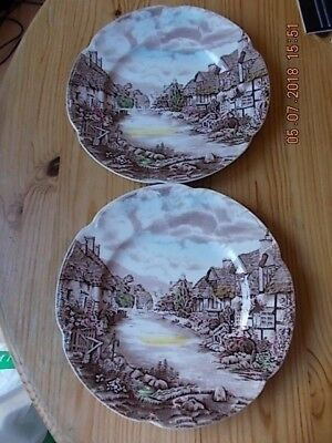 Johnson Bros Olde English Countryside c1960's dinner plates x 2, perfect C