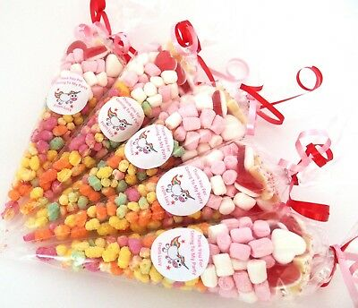 15 Pre Filled Sweet Cones Unicorn Themed  Personalised  x 15 Party Haribo sweets