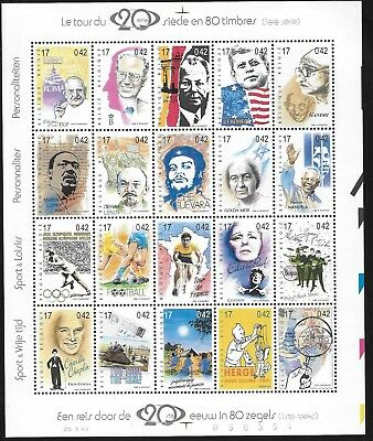 India Indien Gandhi  Martin Luther Mandela etc.Belgium 1999 Sheet MNH**