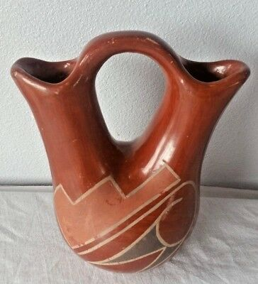 Antique POLISHED RED CLAY WEDDING VASE Southwestern Pottery Hand Painted  VTG