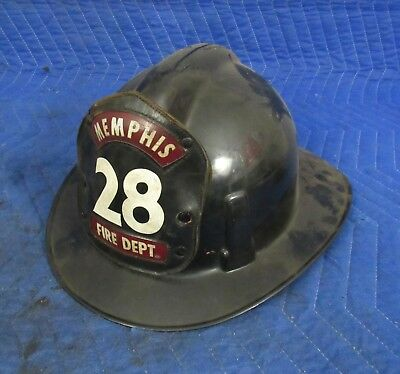 Vintage Msa Topgard Helmet Firefighter Firemans Memphis Leather Badge Shield