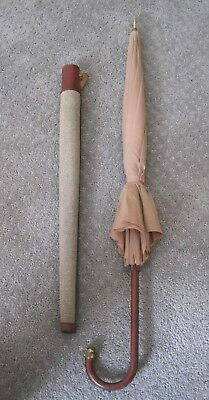 COACH Vintage Umbrella and Case 1960's Stitched Leather Very Good Condition