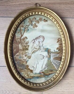 Antique Georgian Silkwork Embroidery Of A Lady And Dog By River C.1790