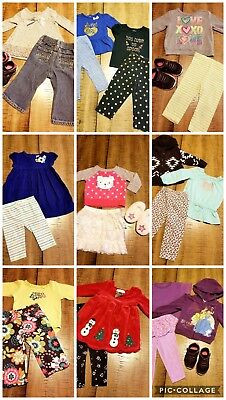 LOT Of 29 Pc Girls Sz 12-18 Months Fall Winter Outfits Clothes