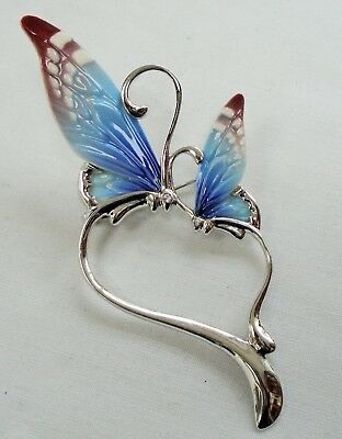 Large designer silver metal, diamond paste & ceramic butterfly brooch (Franz)