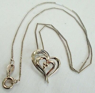Fine quality vintage sterling silver heart pendant + sterling silver chain