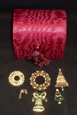 Lot of 6 Vintage Rhinestone Christmas Pins Brooches - Tancer II Tree & Unmarked