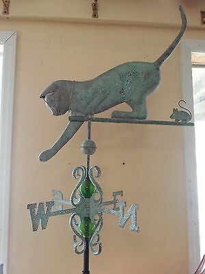 Beautiful large antique finish Cat and copper weathervane,complete with roof mt.