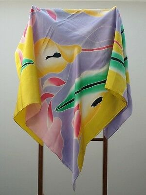 Vintage Large luxurious Retro silk scarf / shawl, hand crafted ART 116cm square