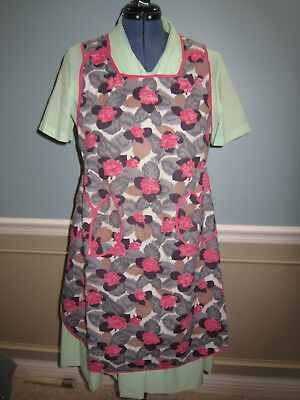 Vintage Full Apron Handmade Pink Roses, Gray, Black, Brown, VERY CLEAN
