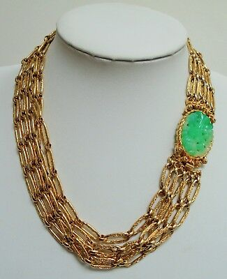Stunning large vintage 5 row gold metal & jade glass collar necklace