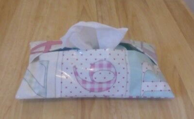 Pink Patchwork Nursery PVC Baby Wipes, Wet Wipes Case/Cover, Handmade