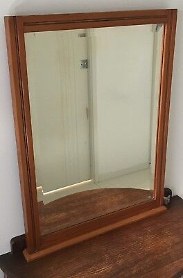 Large Antique Mirror with Bevelled Glass and with a NZ Kauri Wooden Frame