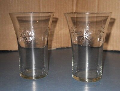 Vintage Lot Of 2  Antique Clear Glass 8 Point Star Tumbler Glasses