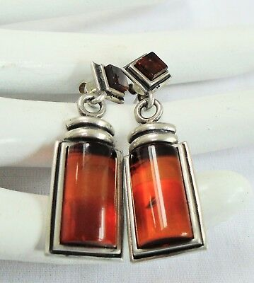 Pair superb quality large vintage sterling silver & amber earrings