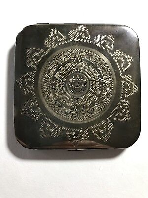 Vintage Mexican Aztec/Mayan Sterling Silver Compact