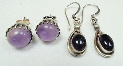 Two pairs good quality vintage sterling silver & amethyst earrings