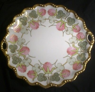 Antique LDBC Flambeau Limoges France Hand Painted Clover Design Gold Large 11""