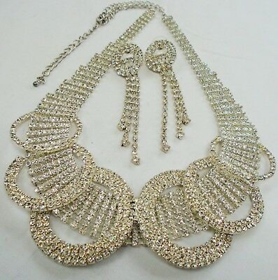 Stunning large vintage silver metal & diamond paste necklace + earrings
