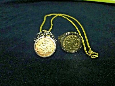 GOLD COINS 2x GEORGE V 1/2 SOVEREIGNS = RING/CHAIN & PENDANT