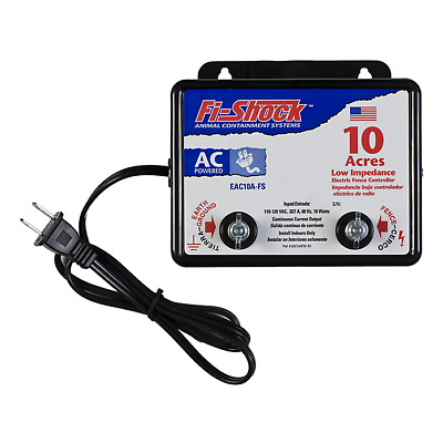 AC Powered 10 Acre Charger Electric Fence Controller, 110-120 VAC Pigs Chickens