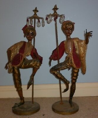 Pick Up Only Vintage Pair Large Decorative Court Jester Figures