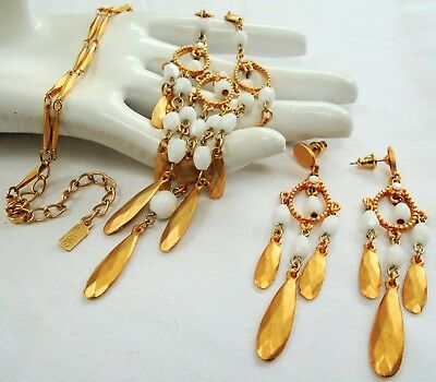Good quality designer gold metal & glass bead fringe necklace + earrings (Lang)