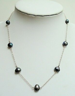 Fine quality vintage sterling silver & cultured pearl chain necklace