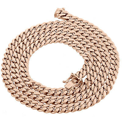 10K Rose Gold 6mm Hollow Miami Cuban Link Chain Box Clasp Necklace 18-24 Inch