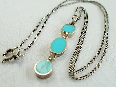 Fine vintage sterling silver & turquoise pendant + sterling silver chain