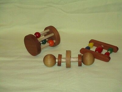 3 handmade wooden rattles set Infant Toys, Baby, New, play toys, USA, hardwood