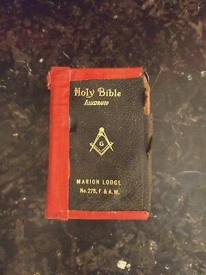 used black vintage authentic freemason illustrated Holy Bible 1926 Marion Lodge