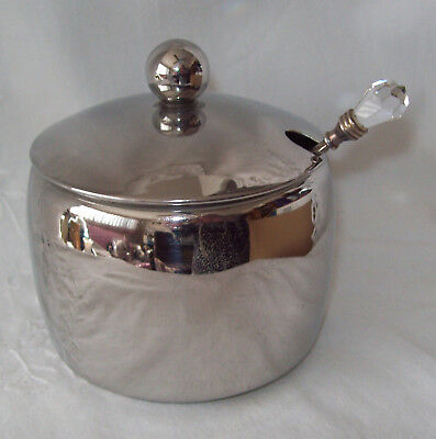 Avanti Stainless Unused Sugar Bowl with Lid and Spoon with Crystal Like Finial